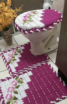 ed9d564e2 Jogo de Banheiro de Crochê  60 Fotos