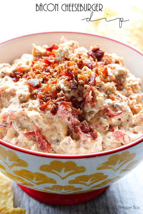 Bacon Cheeseburger Dip will be a hit on Game Days. Bacon, beef and cheese make for a great appetizer when you let your slow cooker help out.