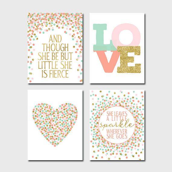 Set of 4 Prints Coral Mint Blush Gold Nursery by EllenPrintable