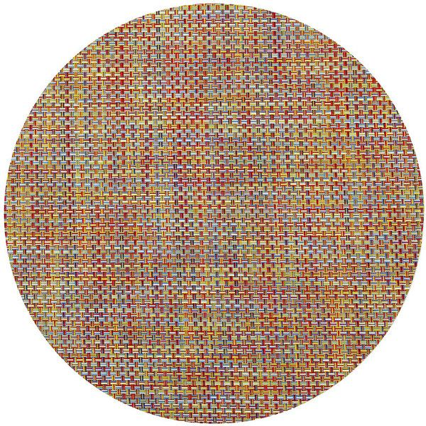Chilewich Basketweave Round Placemat - Crayon ($32) ❤ liked on Polyvore featuring home, kitchen & dining, table linens, fillers, multi, woven placemats, contemporary placemats, round woven placemats, colorful placemats e vinyl place mats