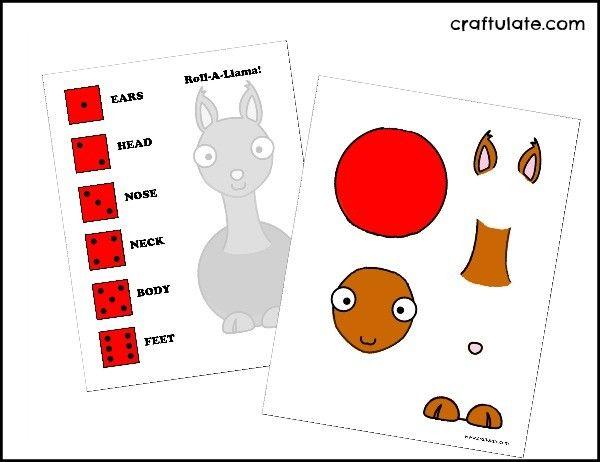 Roll-A-Llama Game Printable - Craftulate