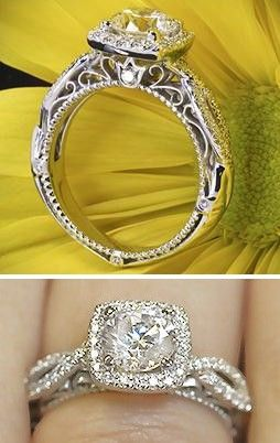 Wow the top of this is amazing. Round diamond in a halo setting?! I didn't know that was possible but now I want ;)