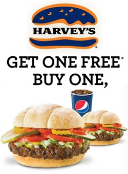 Buy One Get One Free at Harvey's with Coupon.    Get the coupon here:  http://free4him.ca/restaurants-and-fast-food/buy-one-get-free-at-harveys/