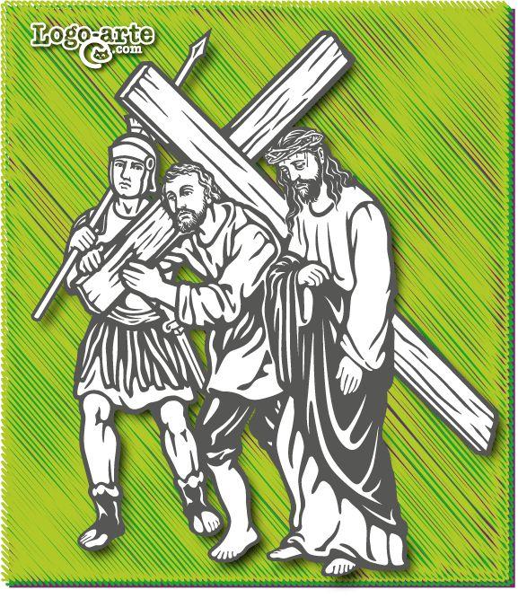 Octava estación del Viacrucis: El Cireneo ayuda a Jesús a llevar la cruz  Simón de Cirene encuentra en su camino, cuando regresa a casa después de un día de trabajo, aquella triste hilera de condenados yendo hacia la cima del Gólgota. Los soldados, viendo a Jesús exhausto, llaman a Simón y obligan a este robusto campesino a cargar con la cruz.