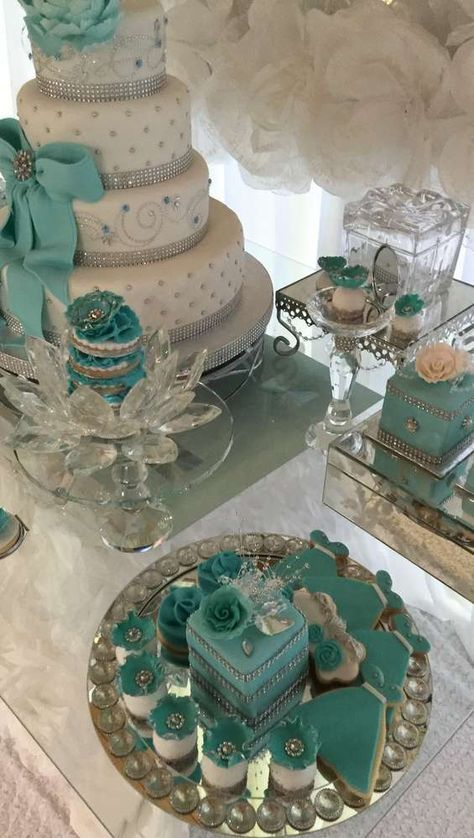 Gorgeous desserts at a Tiffany Quinceañera party! See more party planning ideas at CatchMyParty.com!