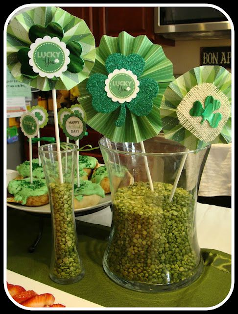 cute centerpieces.  lots of other St. Patty's day party decorations and treats/