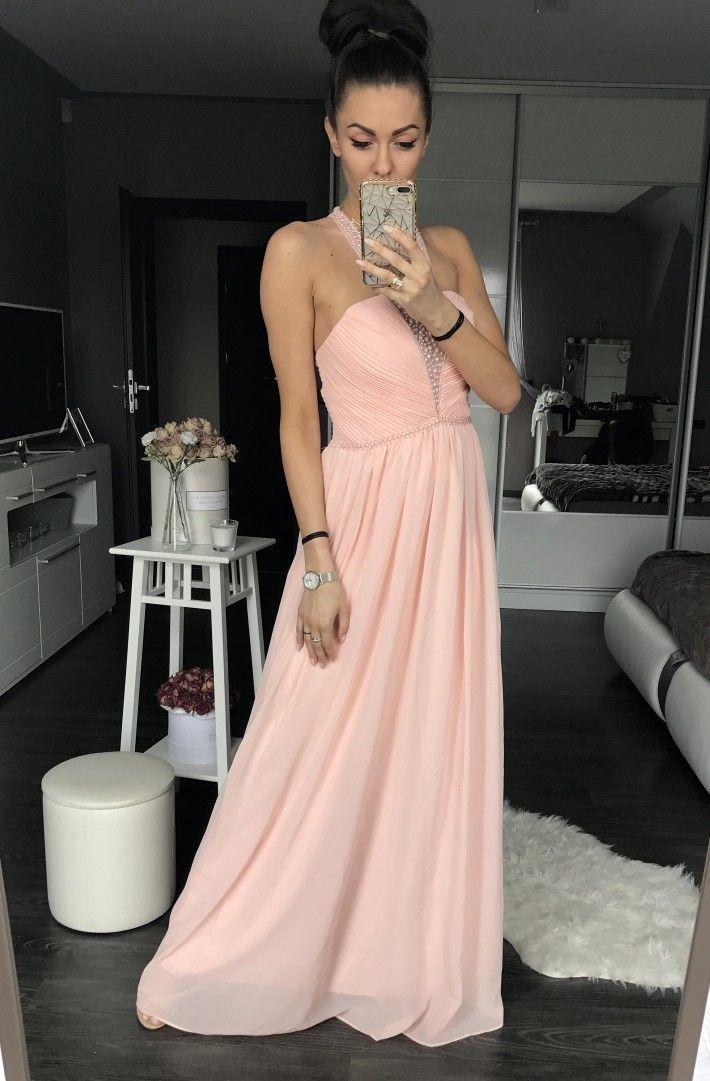 Peach evening dress EVA & LOLA