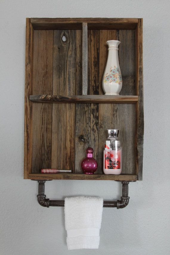 Industrial Shelf, Reclaimed Wood Shelves, Medicine Cabinet,Cubby Shelf,Bathroom  Wall Cabinet,Farmhouse Decor,Farmhouse Shelf,Towel Bar Shelf