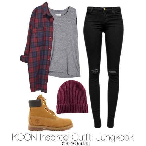 Inspired Outfit for KCON: Jungkook by btsoutfits on Polyvore featuring Monki, J Brand, Timberland and H&M