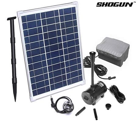 Shogun 20w Solar Power Water Feature Pump Kit With Timer Led Lights Bath Shower In Garden