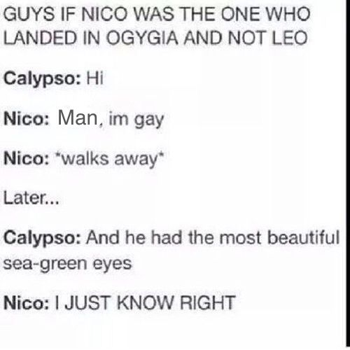 This headcanan of Nico and Calypso fangirling over Percy is all I need in life <<< OMG YES TRUE