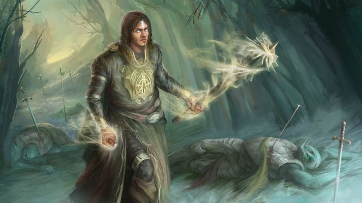 1366x768 Wallpaper corpses, mage, warrior, forest, art, fantasy