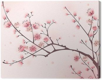 Obraz na Plátně Orientální styl malby, třešňové květy na jaře