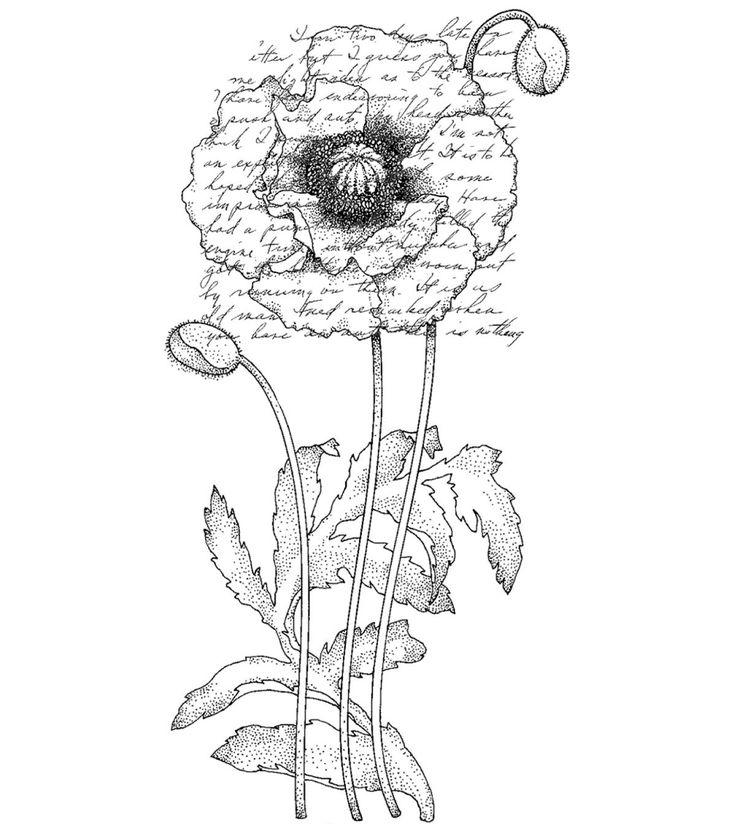 "Penny Black Rubber Stamp 2.25""X4 - Poppy Poem"