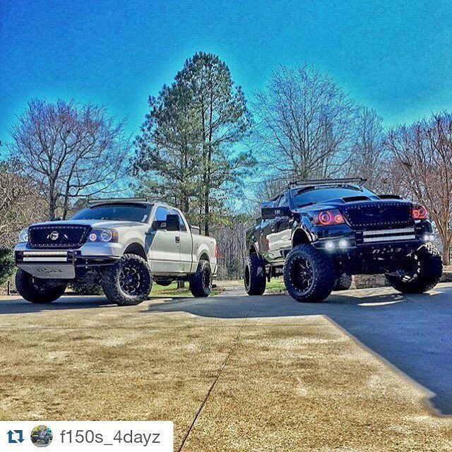 #Repost @f150s_4dayz  @hunter_dayton & @bigsexy_f1 with a badass picture of there f150's!! #nfab #lightbarsfordays #lightbars #snappingnecks #retrofit #colormorph #liftedsofatchickscantjump #fuelwheels #truckporn