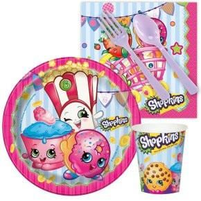 Shopkins tableware: Plates, cups, napkins, forks, spoons. Birthday party supplies