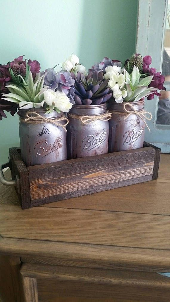 Check out this item in my Etsy shop https://www.etsy.com/listing/522009417/mason-jar-centerpiece-succulent-plant