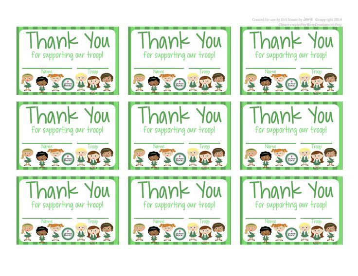 Fashionable Moms: Girl Scouts   FREE Printable Thank You Cards  Microsoft Thank You Card Template