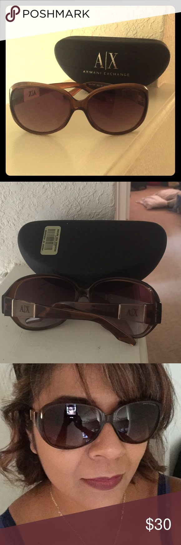 A/X Armani Exchange Sunglasses Armani Sunnies. Have had for a couple years and they have tiny bit of normal scratches on lenses but nothing that impairs vision.  Also scratches are not visible unless you look for them, but I need to mention. They come in original case. Armani Exchange Accessories Sunglasses