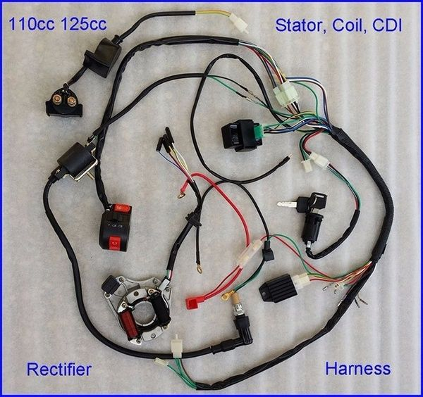 Wire Harness Wiring CDI Assembly for 50/70/90/110cc/125cc ATV Quad Coolster  GO KART | Wish | Atv quads, Motorcycle wiring, HarnessPinterest
