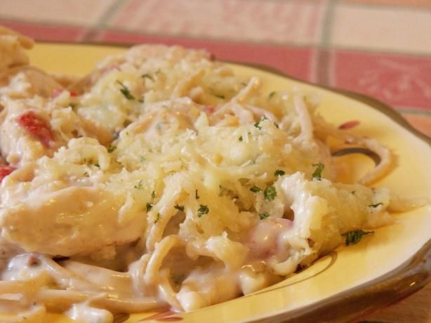 Olive Garden Chicken and Shrimp Carbonara: One of my all time favorite pasta recipies, ritz crackers work just as good as the Panko ones. I make this half and its lots...only put the crumbs on as much as you think you will eat. Its Best Fresh from the oven! with garlic toast!