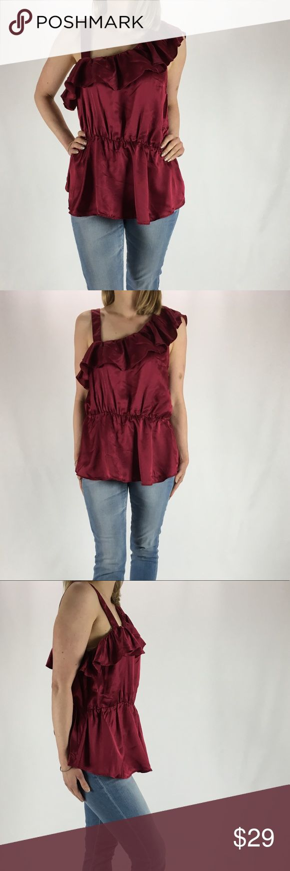 """FRENCH CONNECTION Satin One Shoulder Blouse NWT 12 FRENCH CONNECTION Bordeaux Ruffle One Shoulder Satin Blouse Top - Hidden Side Zipper  Size: 12  Condition: NWT  Fabric: Lyocell/Viscose/Rayon MEASUREMENTS UNSTRETCHED:  Armpit to armpit 18.5""""  Length 24"""" French Connection Tops Blouses"""