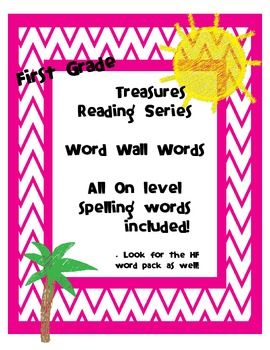 First grade word wall words that goes with the Treasures Reading Series!