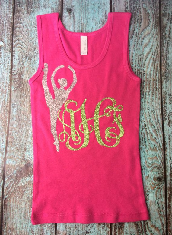 Monogrammed Tank top Ballerina, Twirler, You choose dancer, majorette, or crossed batons design monogram tank top Glitter by PoshPrincessBows1 on Etsy