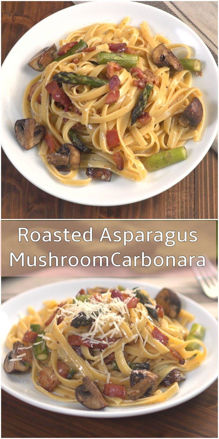 Roasted Asparagus Mushroom Carbonara