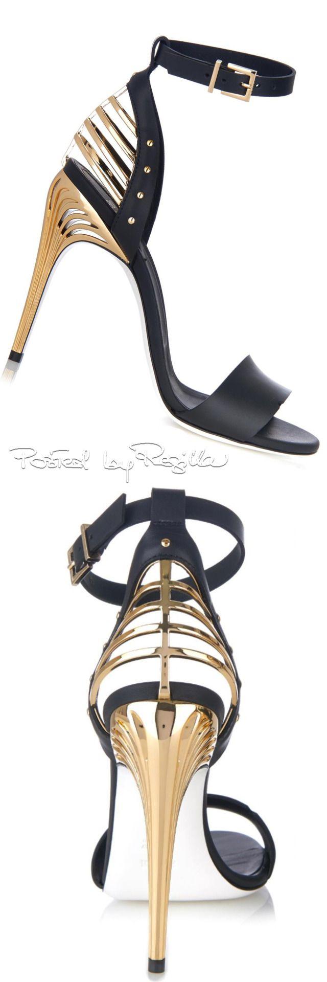Regilla - Fendi ~ Black Leather Sandal Heels w Gold Accents, 2015