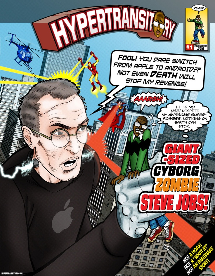 Giant-Sized Cyborg Zombie Steve Jobs. When he comes back, this is how he'll do it! Read more here-->http://bit.ly/VQ0yGS