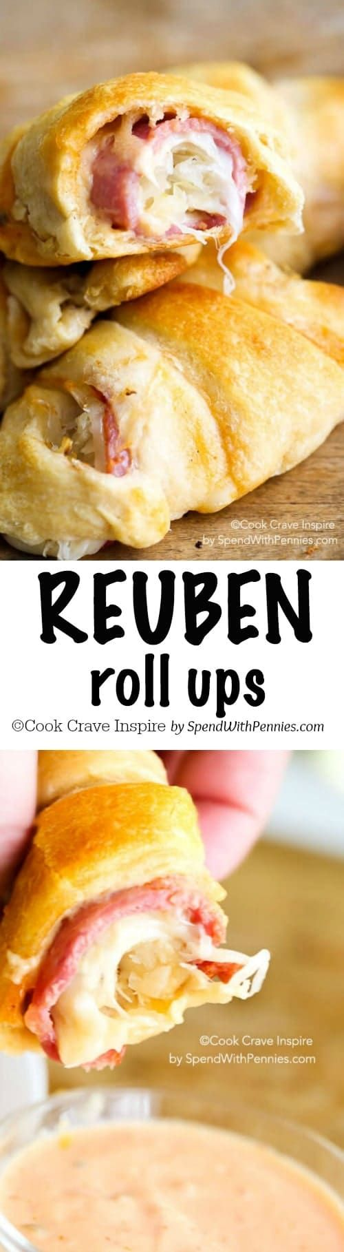 Reuben Roll Ups! All of the deliciousness of a reuben sandwich in an easy to make roll up! Perfect for snacks, appetizers or lunch!