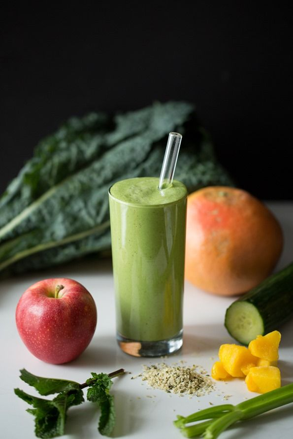 Green Warrior Protein Smoothie: 1/2 c fresh red grapefruit juice 1 cup destemmed kale 1 large sweet apple, cored and roughly chopped 1 cup chopped cucumber heaping 1/2 cup chopped celery (1 med. stalk) 3-4 tablespoons hemp hearts (I use 4 tbsp) 1/4 cup frozen mango 1/8 cup fresh mint leaves 1/2 tablespoon virgin coconut oil (optional) 3-4 ice cubes, as needed 1/2-1 tablespoon algae oil (do not add  Read more: http://ohsheglows.com/2014/03/31/green-warrior-protein-smoothie/#ixzz32lwNx8LV