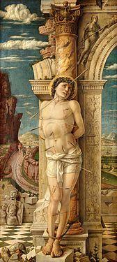 "St. Sebastian - Andrea Mantegna.  c.1460.  Tempera on panel.  26 3/4 x 11 3/4"".  Kunsthistorisches Museum, Vienna, Austria."