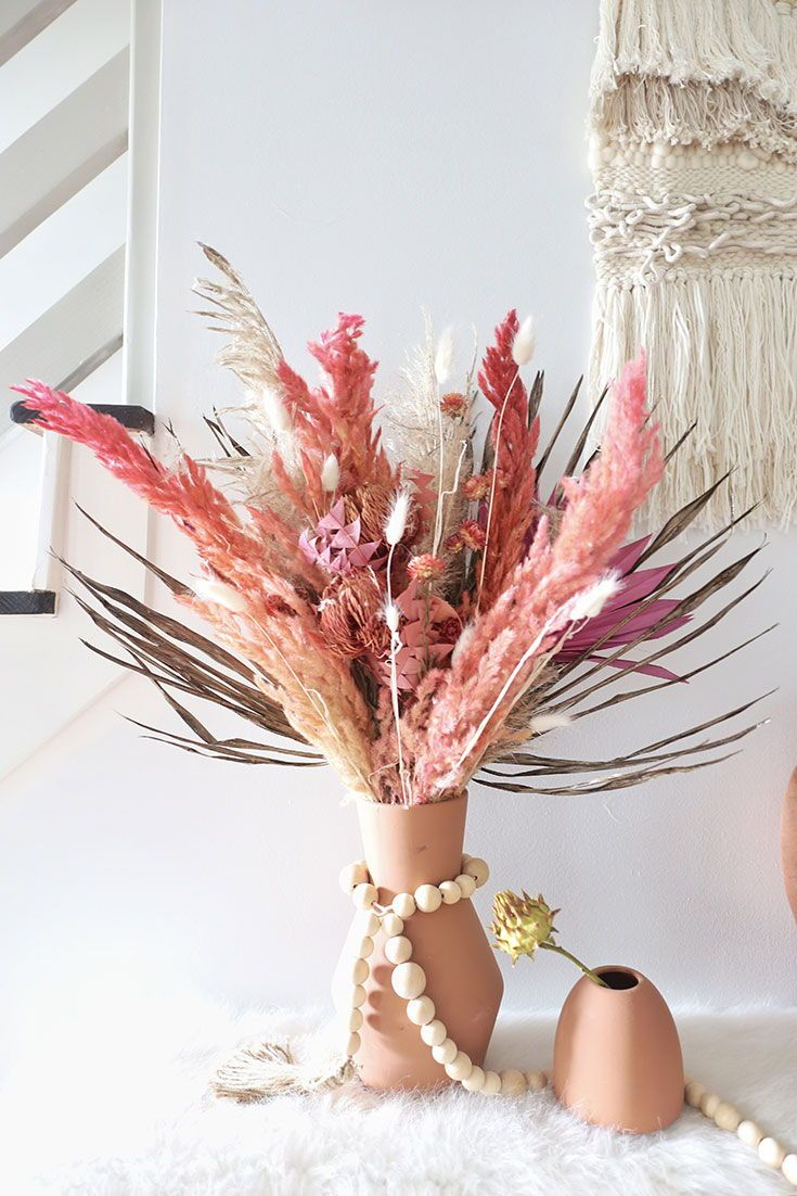 Diy Boho Flower Arrangement With Dried Flowers And Grasses From