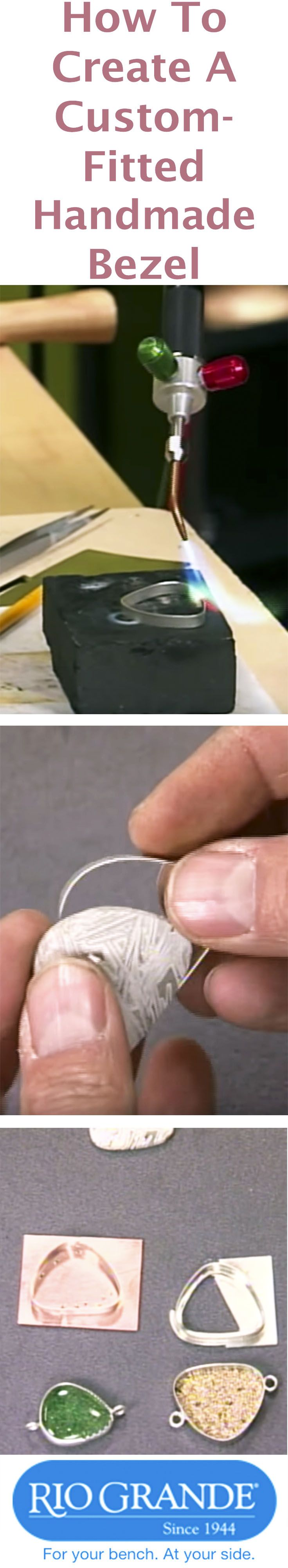 How To Create A Custom-Fitted Handmade Bezel -  Have an odd-sized stone, glass or jewelry piece you want to bezel-mount to create a pendant, brooch, earring or other design? See in this video how to create perfectly sized custom-fitted bezels from wire stock.