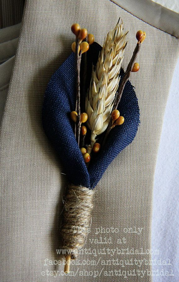 I like this one!!   Rustic Budget Boutonniere  Wheat by AntiquityBridal on Etsy, $10.00
