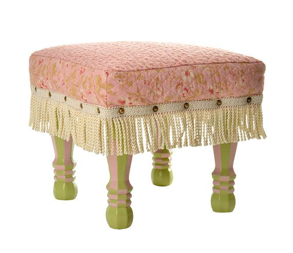 Upholstered Footstool, Ottoman, Floral, Shabby Chic, Cottage Chic, Home  Decor Accessory