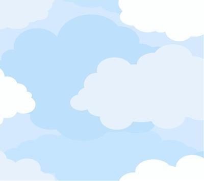 Clouds WallPaper for Kids Rooms, Nursery Room or Preschool - Clouds Wallpaper - Graphic Clouds Blue Wallpaper