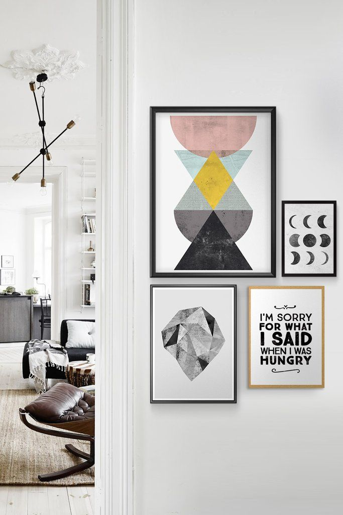Typographic Prints With Geometric Abstract Composition Inside Of Nordic Interior Gallery Wall Inspiration Gallery Wall Inspiration Wall