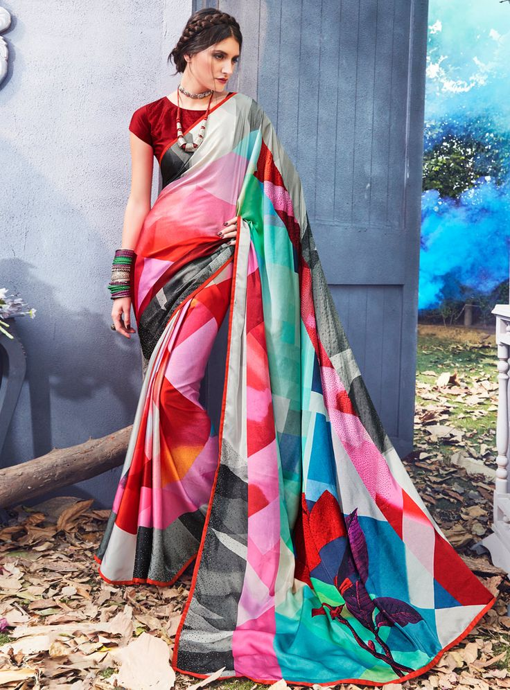 Pink Silk Printed Saree With Blouse 114463