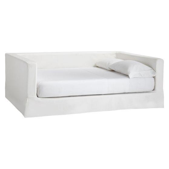 Jamie Daybed | PBteen = great way to turn a mattress into an apartment sized couch