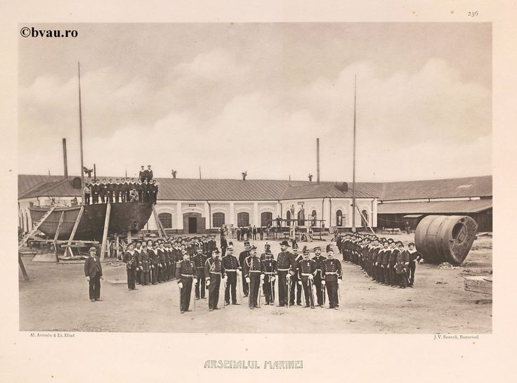 "Arsenalul Marinei, 1902, Romania. Ilustrație din colecțiile Bibliotecii Județene ""V.A. Urechia"" Galați. http://stone.bvau.ro:8282/greenstone/cgi-bin/library.cgi?e=d-01000-00---off-0fotograf--00-1----0-10-0---0---0direct-10---4-------0-1l--11-en-50---20-about---00-3-1-00-0-0-11-1-0utfZz-8-00&a=d&c=fotograf&cl=CL1.43&d=J238_697980"