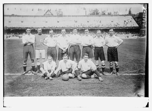 "Title: English football teamCreator(s): Bain News Service, publisherDate Created/Published: [ca. 1912] (date created or later published by Bain)Medium: 1 negative : glass ; 5 x 7 in. or smaller.Summary: Photo shows the English football (soccer) team at the 1912 Olympics in Stockholm, Sweden. (Source: Flickr Commons project, 2009 and similar photograph in ""Football at the 1912 Summer Olympics,"""