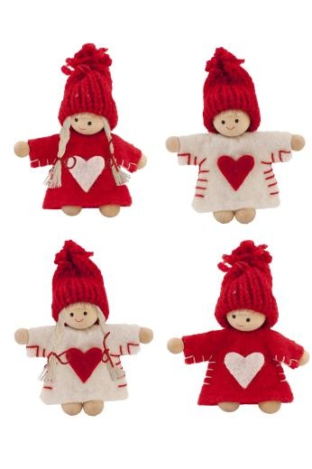 Red & White Felt Nordic Mini People Decoration