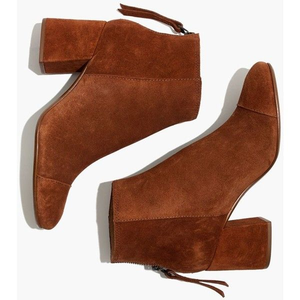 MADEWELL The Jillian Boot in Suede ($210) ❤ liked on Polyvore featuring shoes, boots, ankle booties, ankle boots, maple syrup, suede ankle bootie, high heel ankle boots, suede bootie and faux suede booties