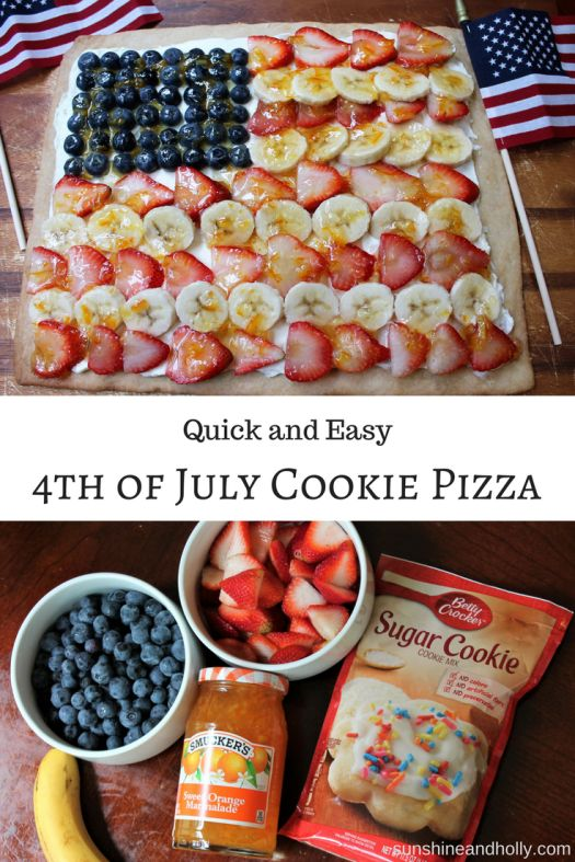 Quick and Easy 4th of July Cookie Pizza | sunshineandholly.com | flag pizza | fruit pizza | 4th of july desserts