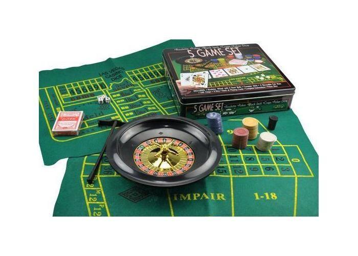 5 Juegos en 1 estuche de metal para jugar Ruleta , Poker, Black Jack, Craps y Poker de Dados