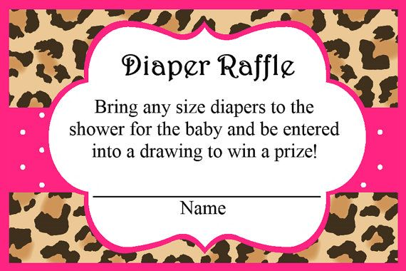 Cheetah Print Diaper Raffle Insert Pink, Party Favors, Instant Download - Digital File by ADTRCustomDesigns