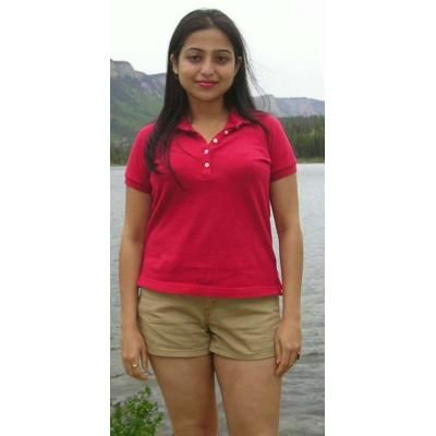 Indian desi college girl in red short dress